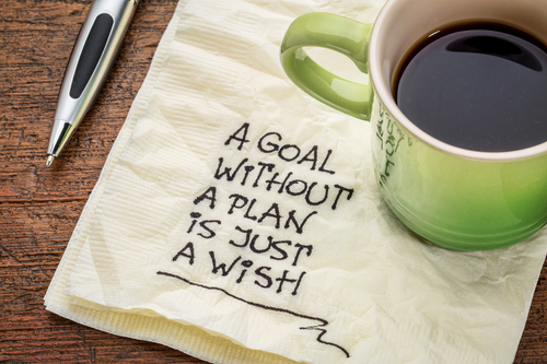 "Coffee Cup on Napkin Reading ""A Goal Without a Plan is Just a Wish"""